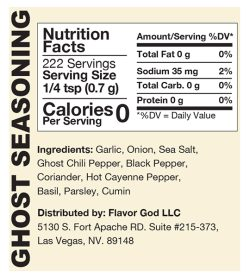 Nutrition fact and ingredients panel of Flavor God ghost seasoning for serving size 1/4 tsp (0.7 g)