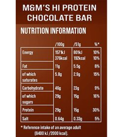 Nutrition information panel of M&M's hi protein bar 51 g chocolate for serving size of 51 g