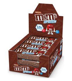 A box of M&M's hi protein bar box 12 chocolate bars 15 g protein