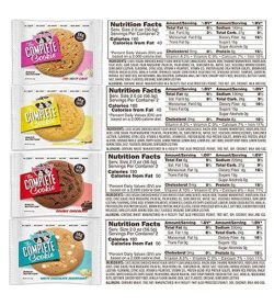 4 different flavour pouches of Lenny&Larry's snack bars the complete cookie shown with nutrition facts