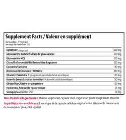 Supplement facts panel of Alora Joint Recovery 180 Veg Capsules Serving Size: 5 Vegicaps