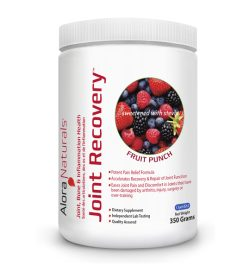 One white and red container of Alora Joint Recovery 350g FRUIT PUNCH flavour