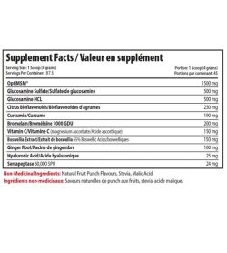 Supplement facts panel of Alora Joint Recovery 350g supplements Serving Size: 1 Scoop (4 grams)