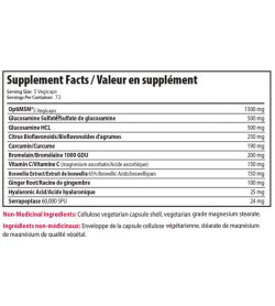 Supplement facts panel of Alora Joint Recovery 360 Veg Capsules Serving Size: 5 Vegicaps