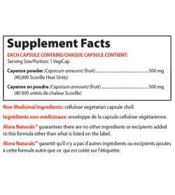 Supplement facts panel of Alora Naturals Cayenne 40000 SHU Serving Size/Portion: 1 VegiCap