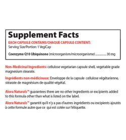 Supplement facts panel of Alora Naturals Coenzyme Q10 Serving Size/Portion: 1 VegiCap