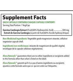 Supplement facts panel of Alora Naturals Garcinia Cambogia 60 vegi caps Serving Size/Portion: 1 VegiCap