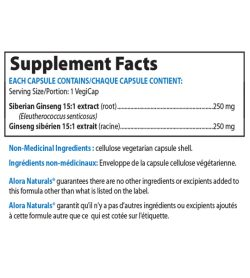 Supplement facts panel of Alora Naturals Siberian Ginseng Extract Serving Size/Portion: 1 VegiCap