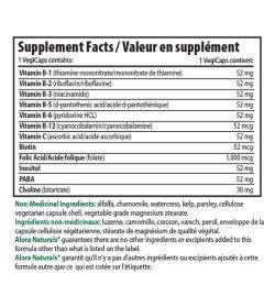 Alora Naturals Super B Complex 1 VegiCaps contains: supplements facts