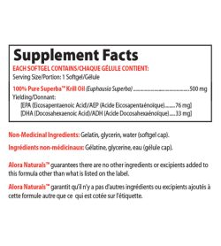 Supplement facts panel of Alora Naturals Superba Krill Oil 60 softgels Serving Size/Portion: 1