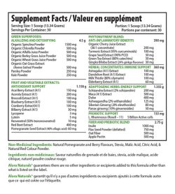 Supplement facts panel of Alora Naturals True Greens 400g Serving Size: 1 Scoop (13.34 Grams)