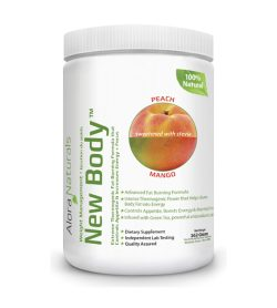 One white and green container of Alora New Body Extreme Thermogenic 350g PEACH MANGO flavour