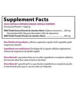 Supplement facts panel of Alora Silymarin 90 Veggie Caps Serving Size/Portion: 1 VegiCap
