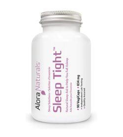 One white and purple bottle of Alora Sleep Tight 90 Veggie Caps 834 mg