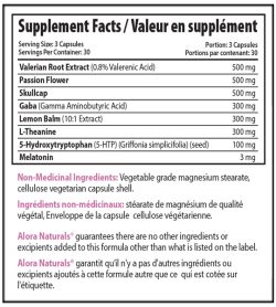 Supplement facts panel of Alora Sleep Tight 90 Veggie Caps Serving Size: 3 Capsules