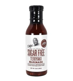 One white and brown bottle of G Hughes Sugar Free Teriyaki Marinade 367 g