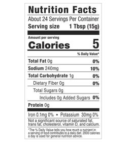 G Hughes Sugar Free Teriyaki Marinade 367g nutrition facts panel