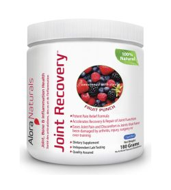 One white and pink container of JOINT RECOVERY 180g FRUIT PUNCH flavour