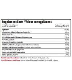 Supplement facts panel of JOINT RECOVERY 180 g Serving Size: 1 Scoop (4 grams)