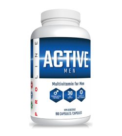 One white and blue bottle of Pro Line Active Men 90 Capsules Multivitamin for Men