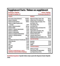 Supplement facts panel of Pro Line Active Men 90 Capsules Serving Size: 3 VegiCaps