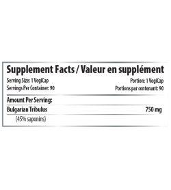 Supplement facts panel of Pro Line Bulgarian Tribulus 120 Caps Serving Size: 1 VegiCap