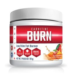 One white and red container of Pro Line Carnitine Burn 30 Servings PEACH MANGO flavour