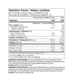 Nutrition fact and ingredients panel of Pro Line Clean Gainer 3.4lbs Per 3 Scoops (110 g)