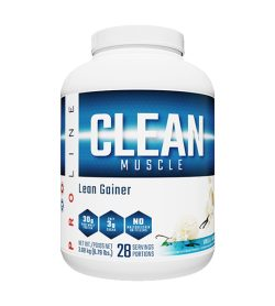One white and blue container of Pro Line Clean Gainer 3.4lbs vanilla flavour