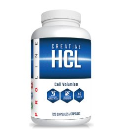 One white and blue bottle of Pro Line Creatine HCL 750mg 120 Capsules