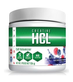 One white and green bottle of Pro Line Creatine HCL Powder Blue Raspberry flavour