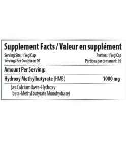 Supplement facts panel of Pro Line HMB 750mg 120caps Serving Size: 1 VegiCap