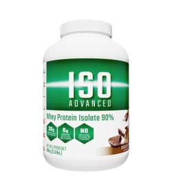 One white and green container of Pro Line ISO Advanced Natural Whey Protein Isolate 2 lbs Chocolate flavour