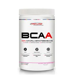 One white and red container of Pro Line Instantized BCAA 50 Servings Pink Lemonade flavour
