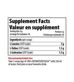 Supplement facts panel of Pro Line Instantized BCAA 50 Servings Serving Size: 6 g