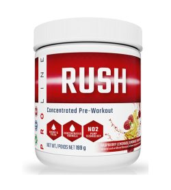 One white and red container of Pro Line Rush 30 Servings 199 g RASPBERRY LEMONADE flavour