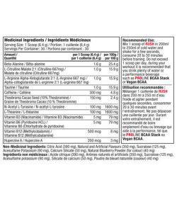 Medicinal ingredients panel of Pro Line Rush 30 Servings Serving Size: 1 Scoop (6.4 g)