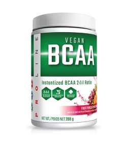 One white and green container of Pro Line Vegan BCAA 30 servings fruit punch flavour