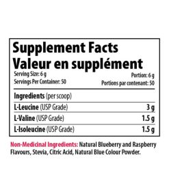 Supplement facts panel of Pro Line Vegan BCAA 30 servings Serving Size: 6 g