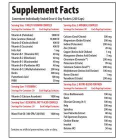 Supplement facts panel of Pro Line Vita Pak Mens 30 packs Serving Size: 1 MULTI-VITAMIN COMPLEX