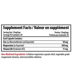 Supplement facts panel of Pro Line ZMA 90 Veggie Capsules Serving Size: 3 VegiCaps