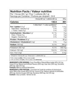 Nutrition fact and ingredients panel of ProLine IsoAdvanced 2lb Per 1 Scoop (36.7 g)