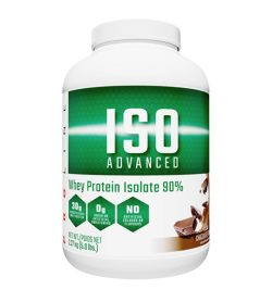 One white and green container of ProLine IsoAdvanced Chocolate flavour 5 lbs Natural