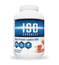 One white and blue container of ProLine IsoAdvanced Strawberry Banana flavour 2 lbs