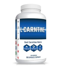One white and blue bottle of ProLine L Carnitine 750 120 Capsules